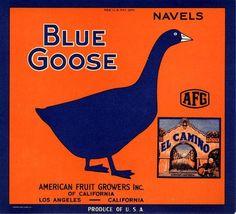 Claremont Blue Goose El Camino Mission Orange Citrus Crate Label Art Print