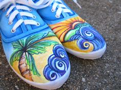 Beach waves Hand painted Canvas Shoes by amyjoycreations on Etsy, $50.00