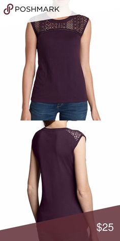 NWT Cap Sleeve Crochet T-Shirt NWT Cap Sleeve Crochet T-Shirt Only worn to try on  Plum Color as Pictured Eddie Bauer Tops Tees - Short Sleeve