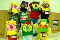 Kids wearing masks from Glad Monster, Sad Monster. What fun to see my idea realised and put into action! Big Green Monster, Monster Mask, Summer Reading Program, Green Monsters, Letter F, Childrens Books, Kindergarten, Masks, Drama