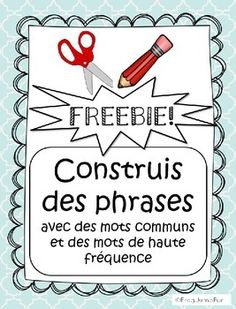 A fantastic freebie for your primary French students to practice reading and writing common words and sight words. This freebie is a preview of French Sight Words Build a Sentence.This is a set of 4 worksheets that asks students to cut out common/sight words, read them, work out a sentence and paste the words in order.