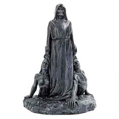 The Grim Reaper has a firm hold on destiny in this dramatic statue as he drags…