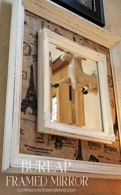 DIY Burlap Framed Mirror from thrift store parts! Burlap Projects, Burlap Crafts, Diy Craft Projects, Framed Burlap, Framed Fabric, Printed Burlap, Home Crafts, Diy Home Decor, Diy Crafts