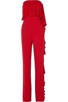 ELIE SAAB Strapless Ruffled Silk-Blend Crepe Jumpsuit. #eliesaab #cloth #jumpsuits