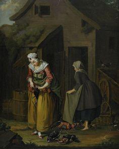 Gårdsexteriör med kvinnor Olja på duk, 56 x 44 cm