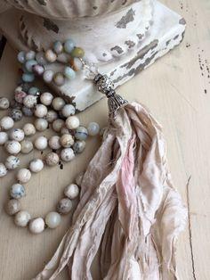 Very neutral gemstone necklace with sari silk tassel by MarleeLovesRoxy@Etsy!