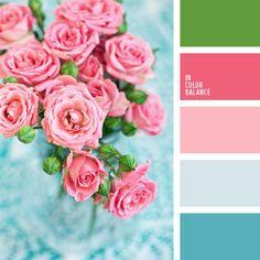Kontrastreiche Farbkombination aus Blau und Rosa lässt sich mit satten Grüntönen nuancieren. Mit denFarben kann man Akzente setzen. Es ist doch empfehlens.