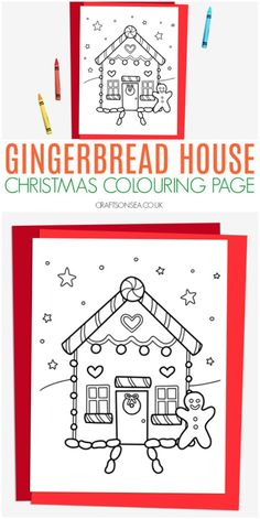 gingerbread house christmas colouring page for kids Creative Activities For Kids, Christmas Activities For Kids, Winter Crafts For Kids, Preschool Christmas, Toddler Christmas, Easy Crafts For Kids, Preschool Crafts, Christmas Printables, House Colouring Pages