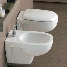 Sanitari Azzurra Pratica filo muro ceramica wc + bidet e sedile soft ...