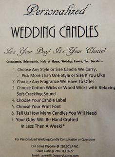 Class up your wedding with romantic candles and a scent that is uniquely you!   https://wicksstudio.com/?target=main #Brides #WeddingCenterpieces #Weddings #BridalShowers #Quinceañera #BabyShowers #WeddingAnniversary #Birthdays #RoomSprays #BodySprays #BodyScents #Melts #MelTins, #FragranceOils #EssentialOis #Lotions #MassageOils #BathOils