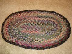 Vintage Antique Primitive Handmade Wool Oval Braided Rug Great Colors | EBay