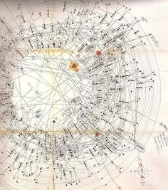 Inuit Genealogy - hand made radial drawing/genealogical diagram made in the mid by anthropologist Jean Malaurie, the first of its kind. Part of a research project related to Canadian and Greenland Inuit. Arte Inuit, Inuit Art, Information Design, Information Graphics, Constellations, Data Visualization, Music Visualisation, Dream Catchers, Map Art