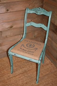 French Stenciled Burlap chair done in CeCe Caldwells Destin Gulf Green Chalk paint. **burlap on the convo bench!?**