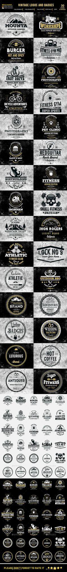 Vintage Logos & Badges Templates Vector EPS, AI Illustrator