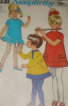 Vintage 1960s Simplicity 7330 Adorable Girls Dress Pattern sz 2 Unct