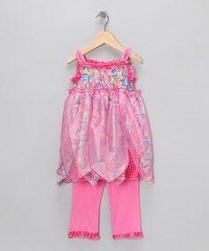 Look at this #zulilyfind! Hot Pink Fairy Tunic & Leggings - Toddler & Girls #zulilyfinds