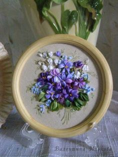 Have Fun with Silk-Ribbon Embroidery - Embroidery Patterns Ribbon Embroidery Tutorial, Hand Embroidery Flowers, Silk Ribbon Embroidery, Crewel Embroidery, Ribbon Art, Diy Ribbon, Ribbon Crafts, Ribbon Bows, Ribbons