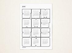 UPBEAT WHITE 2016 Wall Calendar por ShotTowerStudio en Etsy Notebook, Bullet Journal, Etsy, Unique Jewelry, Handmade Gifts, Wall, 2016 Calendar, Calendar Wall, Hand Made