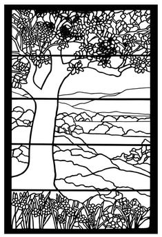leave out the horizontal lines and it would be a nice pattern for a landscape quilt/ stained glass pattern