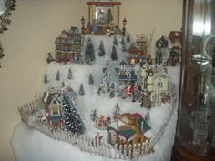 Christmas Village with varying heights... much easier to view than all the same level.