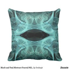 Black and Teal Abstract Fractal Pillow