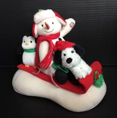 Hallmark 2007 Jingle Pals Animated Sled Sleigh Singing Snowman Dog Penguin VIDEO  | eBay