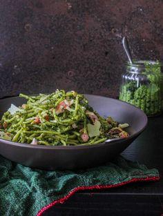 Pasta with Kale-Almond Pesto and Salmon