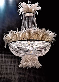 Feathered trend adds excitement to a regularly traditional chandelier | cynthia reccord