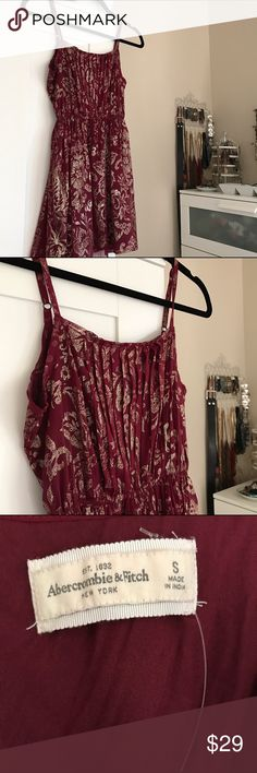 abercrombie & fitch metallic floral party dress super cute dark red / burgundy & gold dress by abercrombie & fitch floral lacey gold applique pattern  NWOT condition; never worn or washed; no damage whatsoever adjustable straps tagged size S & would fit an XS or S best Abercrombie & Fitch Dresses Mini