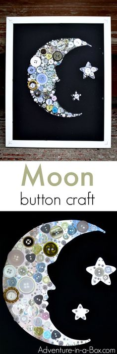 Make a moon button craft to add to your home décor! So easy to put together that even young children can make this craft.