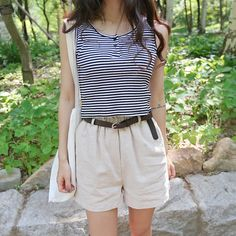Hot weather calls for comfy basics like this stripe cotton top from Daily About