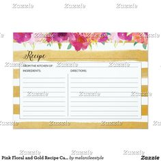 Pink Floral and Gold Recipe Card