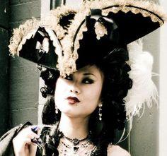 The Munchausen - Velvet Tricorn Hat - Pirate - Marie Antoinette Pirate Queen, Pirate Woman, Lady Pirate, Renaissance, Steampunk Pirate, Wonderland, Pirate Hats, Fancy Hats, Crown Hairstyles