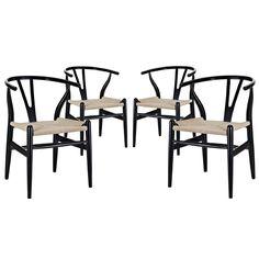Amazon.com - LexMod C24 Wishbone Chair, Black - Dining Chairs