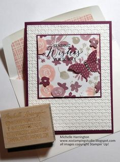 XO Stamping Studio: Goodbye, Butterflies, Blooms & Bliss!!! Elegant Butterfly Punch - Blooms & Bliss DSP - Stampin' Up! - Blushing Bride - Rich Razzleberry - Sweet Sugarplum - Michelle Harrington - www.xostampingstudio.blogspot.com - Instagram: @stampingmichelle  CLICK on the photo to see more ideas using this paper and/or punch.