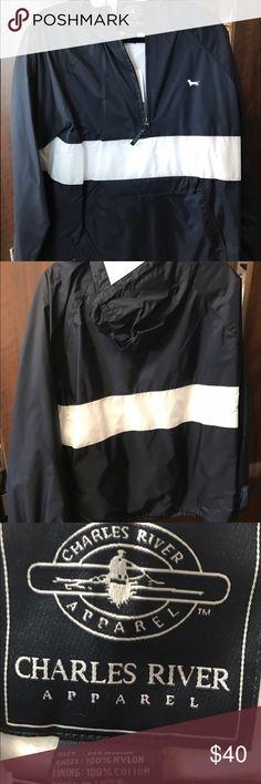 Charles River wind/water proof pullover Brand new Seaside Brand, fleece lined adjustable bottom, large middle pocket, hood, zip up neck Charles River  Jackets & Coats