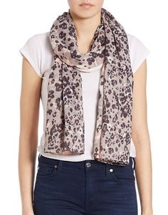 Lord & Taylor Animal Print Scarf Women's Silver