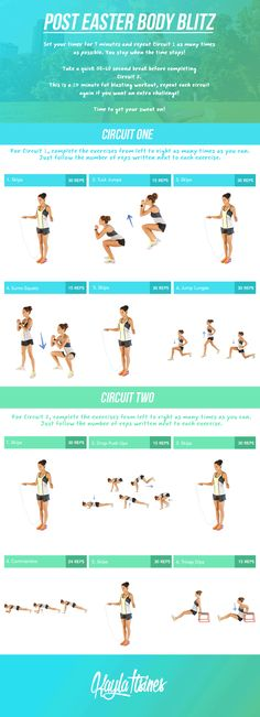 Easter is well and truly over, which meansyou probably don't want to see another chocolate egg for a verylong time! Get back into the groove of things with this workout that targets your ENTIREbody. The best thing is, it's only 14-minutes long so you can easily make time for it during your day.  Get Sweating!Kayla xx