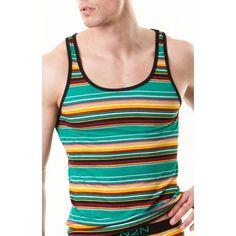 Giovanni Bonamy for Bodywear Male Face, Green Stripes, Male Models, Tank Man, Tank Tops, Boys, Sexy, Casual, T Shirt