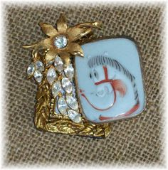 Sold - Now On Etsy At Louzart - My Kingdom For A Horse Wearable Art Pin Brooch Pendant by louzart, $22.50