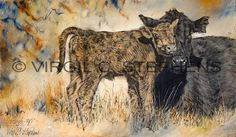Mothered Up, print from the original oil painting of a cow and her calf, cattle art, western art of cows, cattle in New Mexico on Etsy, $61.41 CAD