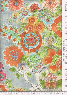Orange Turquoise Green and Grey Floral Curtain by StitchandBrush, $295.00