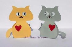 Paper crafts Two cats with templates Diy And Crafts, Paper Crafts, Paper Animals, Farm Animals, Free Printables, Pikachu, Clip Art, Fish, Templates