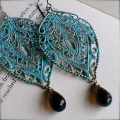 Chandelier Earrings with Smokey Topaz- love the blue. <3