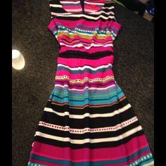 Striped sleeveless party dress. Precious sleeveless belted dress. Pink, black, green, blue. Zips up back. Dresses