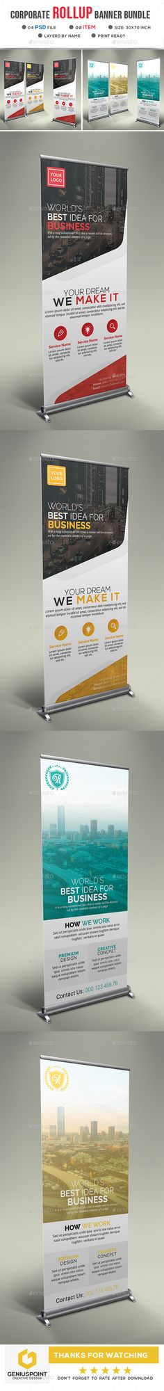 #Corporate #Roll Up Banner Bundle - Signage Print Templates