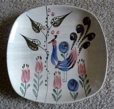 Vintage Swedish ZIE Pottery Small Plate Pafagel Peacock Hand Painted Sweden | eBay
