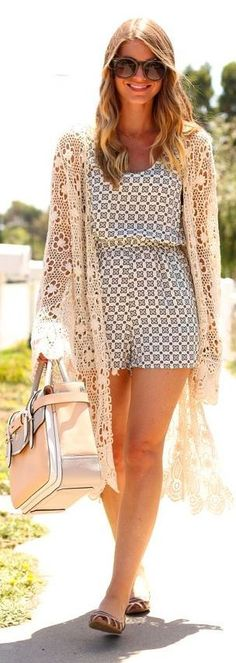 Long crochet cardigan over a romper. Breezy summer style.