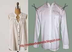 After - befor refashion biby creations Couture tutorial Diy Clothing, Sewing Clothes, Clothing Patterns, Sewing Patterns, Sewing Men, Clothes Crafts, Men Clothes, Shirt Refashion, Diy Shirt
