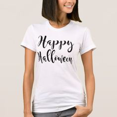 Happy Halloween   Black Script T-Shirt - girly gift gifts ideas cyo diy special unique